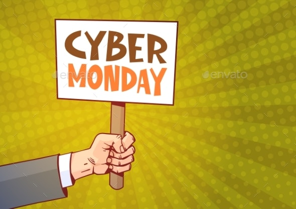 Hand Holding Banner With Text Cyber Monday - Miscellaneous Vectors