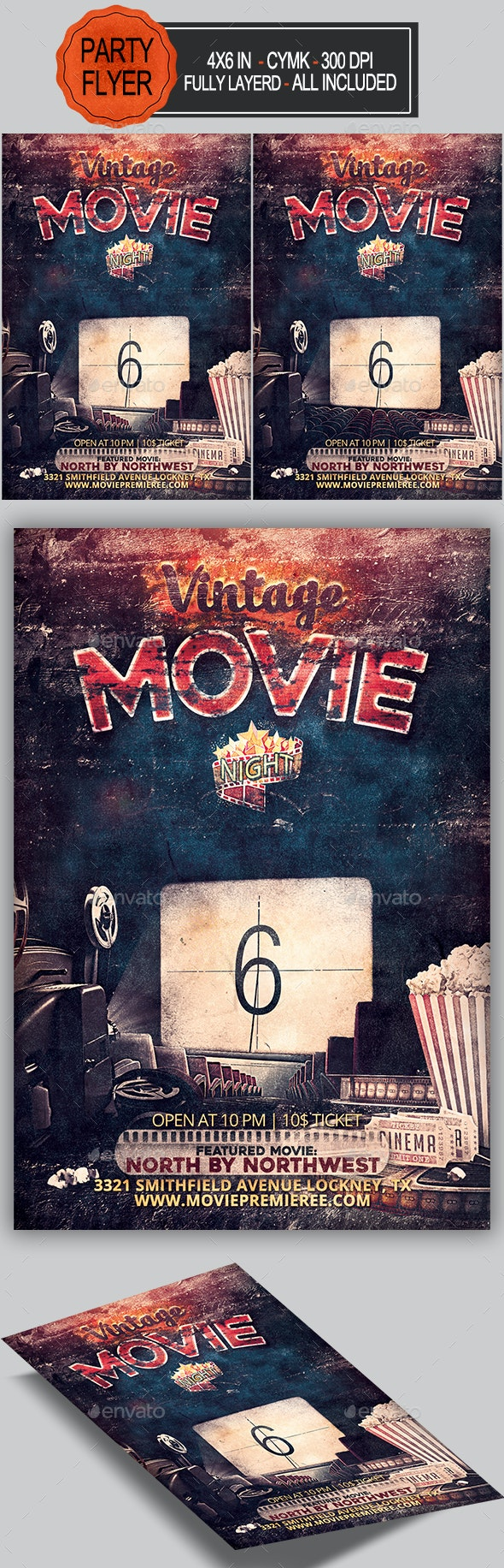 Vintage Movie Night Flyer - Miscellaneous Events