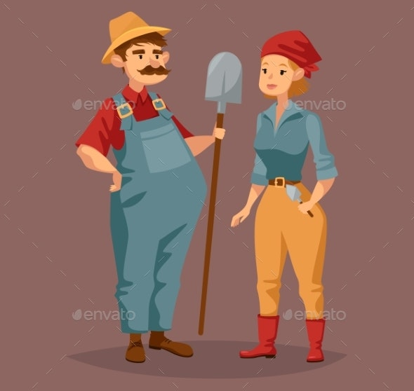 Cartoon Gardener Man and Agriculture Worker, Woman - Sports/Activity Conceptual