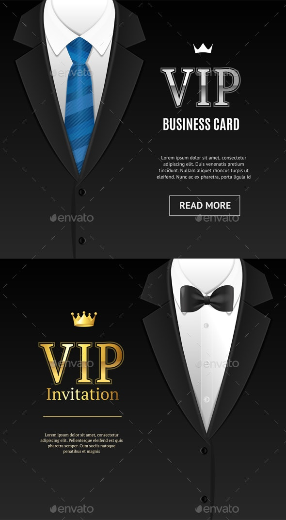 Vip Invitation with Bow Tie. Vector - Conceptual Vectors
