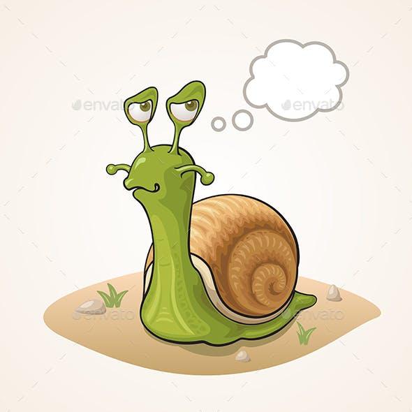 Cartoon Snail on the Ground