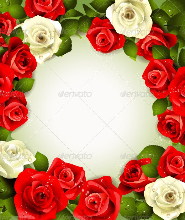 Background with White and Red Roses  - Backgrounds Decorative