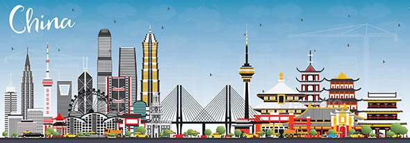 China City Skyline. Famous Landmarks in China. - Buildings Objects