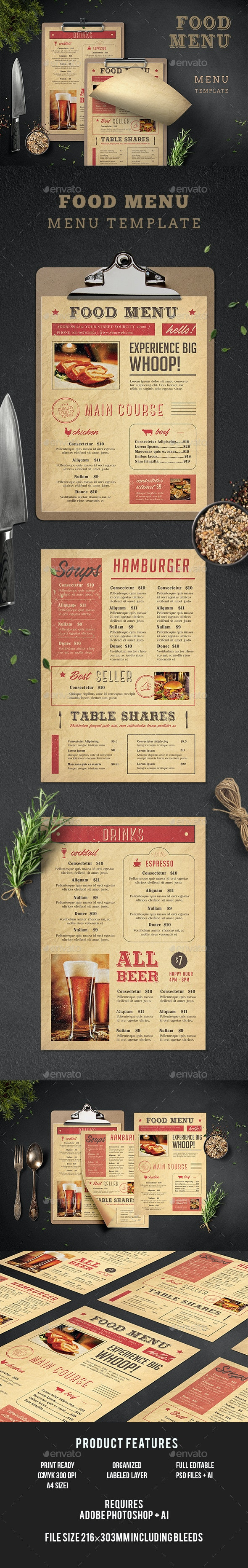 Typography Menu - Food Menus Print Templates
