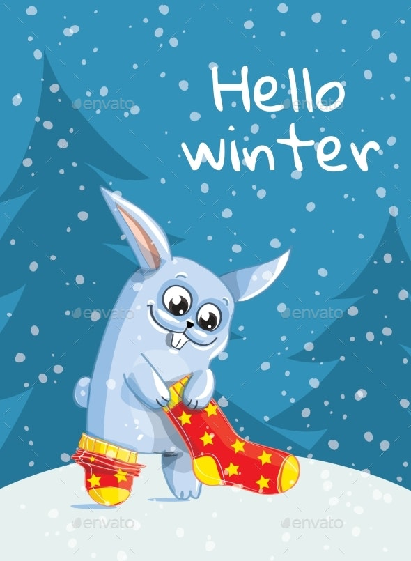 The Bunny Puts Red Socks On. Hello Winter - Animals Characters