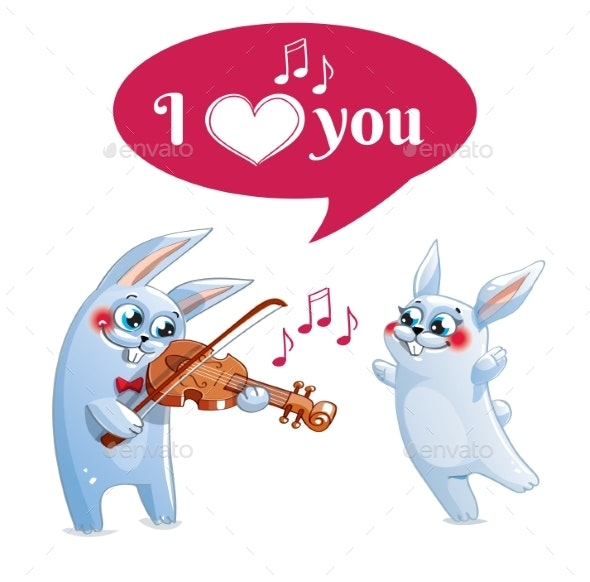 The Hare Plays the Violin. Love - Valentines Seasons/Holidays