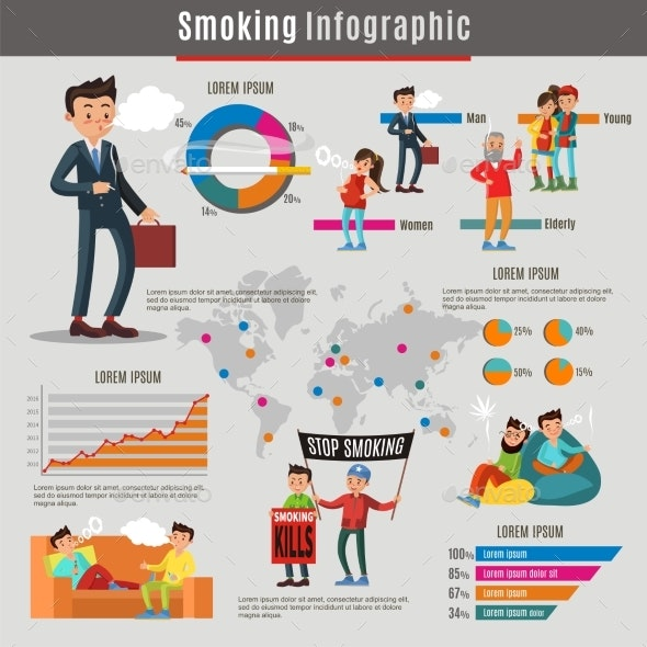 Colorful Smoking Infographic Concept - Backgrounds Decorative