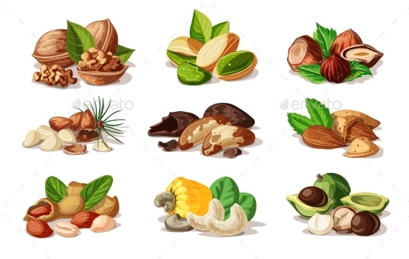 Cartoon Colorful Nuts Set - Food Objects
