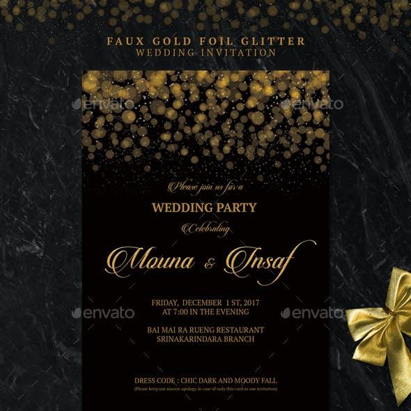 Faux Gold Foil Glitter Wedding Invitation