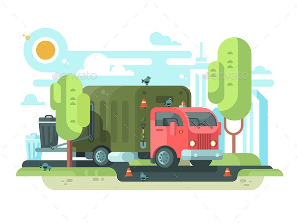 Garbage Truck Collects Garbage in Park - Objects Vectors