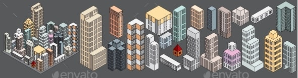 Simply Isometric Buildings. Vector Set - Buildings Objects