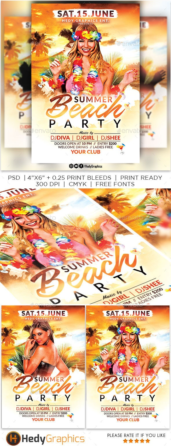Summer Beach Party - Events Flyers