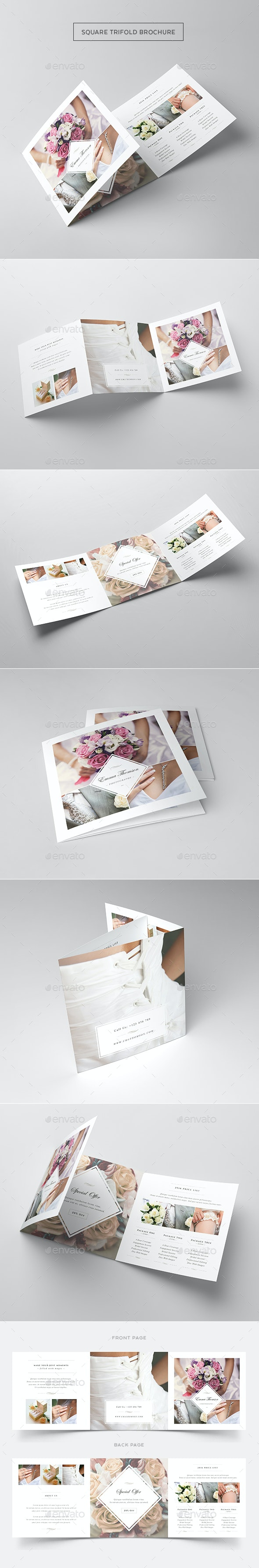 Photography Square Trifold Brochure Template - Informational Brochures