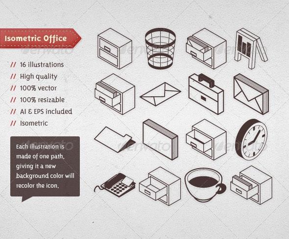 Isometric Office Vectors - Business Conceptual