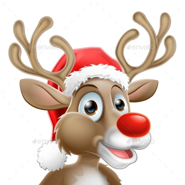 Cartoon Reindeer With Christmas Santa Hat
