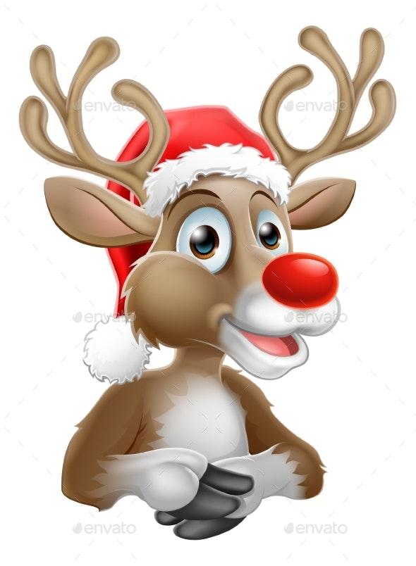 Cartoon Reindeer With Christmas Santa Hat - Christmas Seasons/Holidays