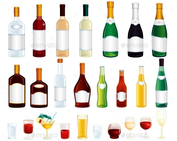 Various Isolated Alcohol Bottles Vector Clip Art - Food Objects