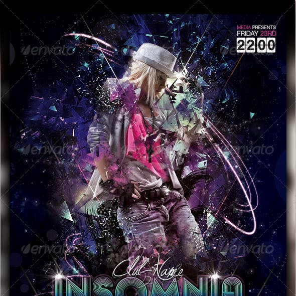 Insomnia Night Club Party / Concert Flyer / Poster