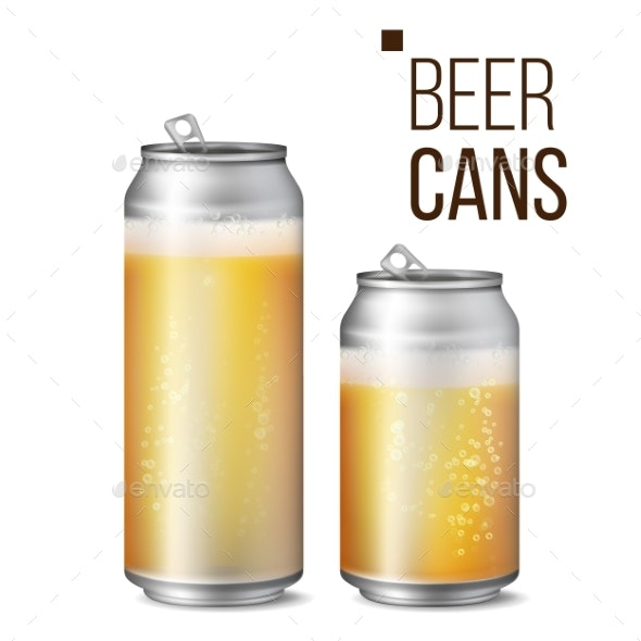 Beer Cans Isolated Vector - Food Objects