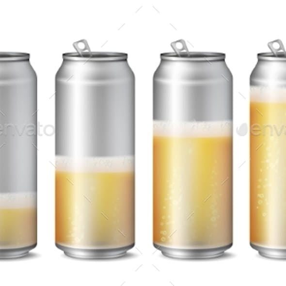 Realistic Beer Cans Mockup Vector