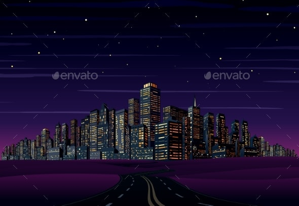 Night City Skyline - Buildings Objects