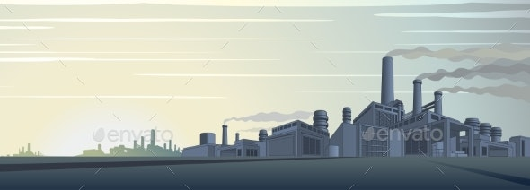 Industrial Cityscape Vector - Industries Business
