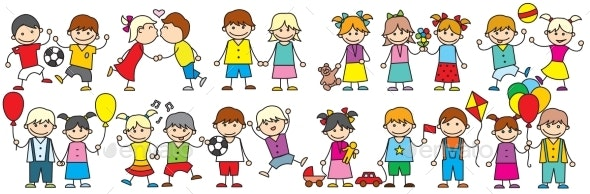Happy Cartoon Kids - People Characters