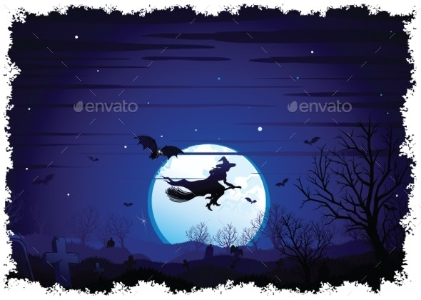 Halloween Background Flying Witch Over Full Moon - Halloween Seasons/Holidays