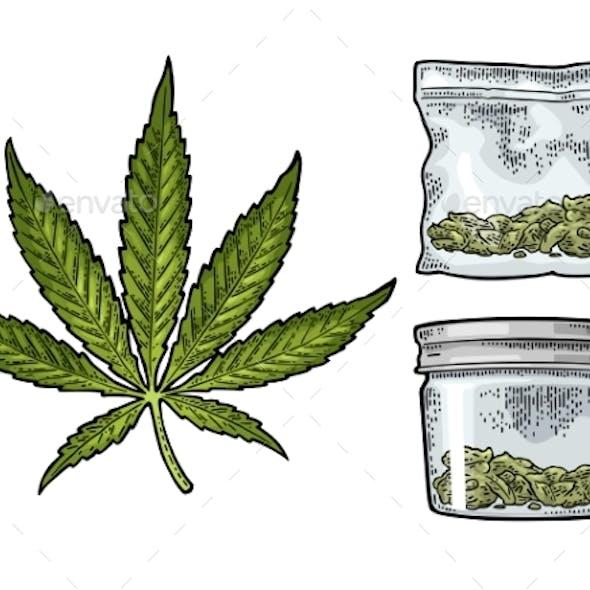 Glass Jar and Plastic Bag for Smoking Cannabis