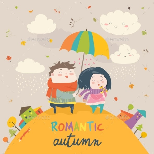 Couple with an Umbrella in the Autumn Rain - People Characters