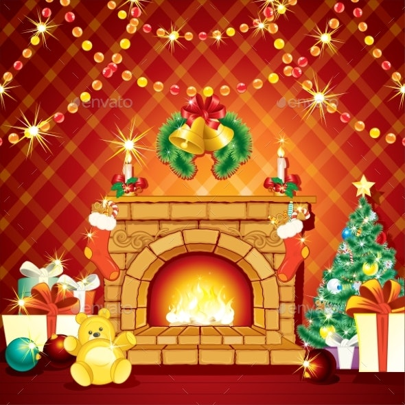 Festive Xmas Interior with Fireplace - Christmas Seasons/Holidays