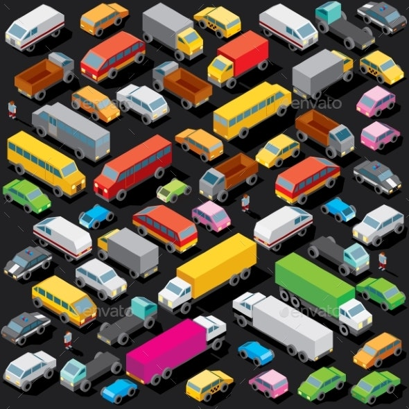 Isometric Cars Parking - Man-made Objects Objects