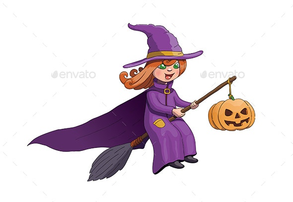 Halloween Witch on Broom with Pumpkin - People Characters