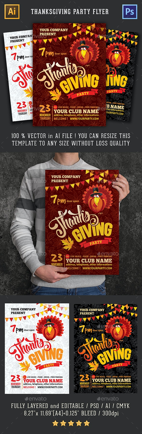 Template For Thanksgiving Party Flyer - Clubs & Parties Events