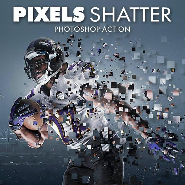 Pixels Shatter Photoshop Action