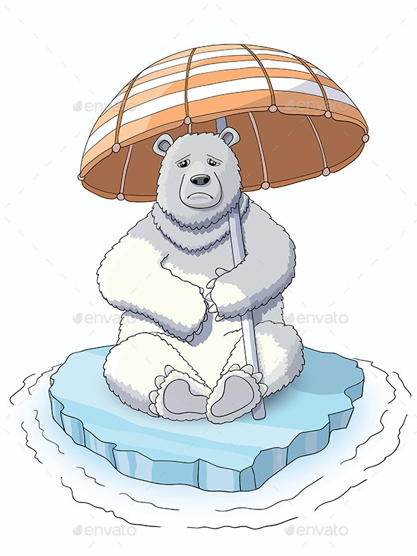 White Bear Sitting on The Melting Ice - Animals Characters
