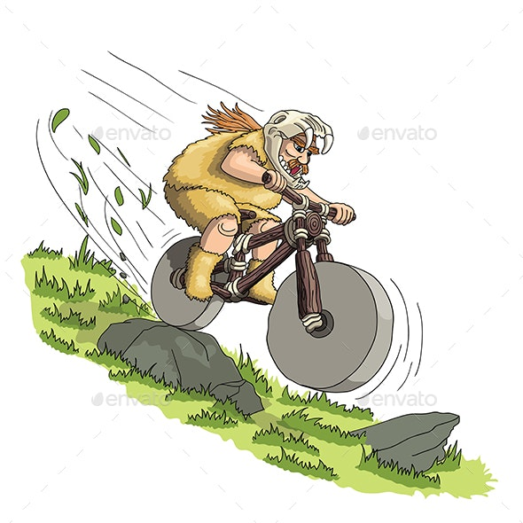 Downhill Mountain Biker From Primal Era - People Characters