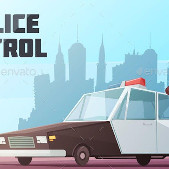 Police Patrol Vector Illustration
