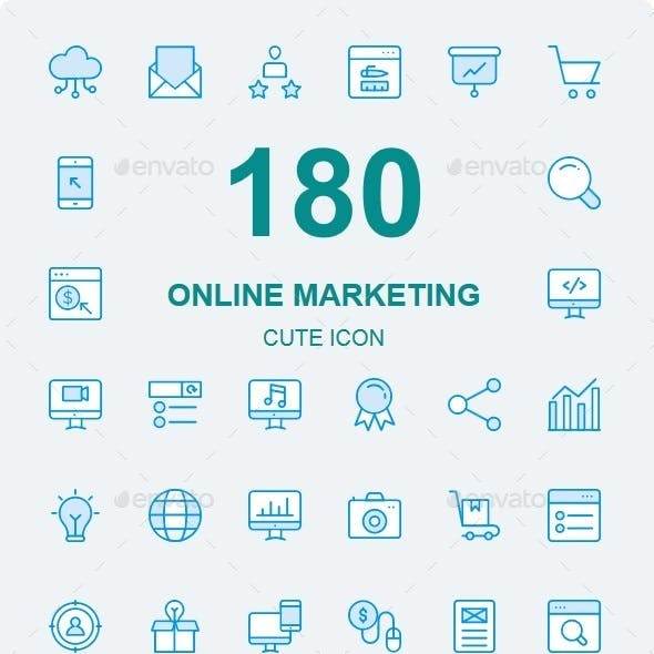 150+ Online Marketing Cute Style icons