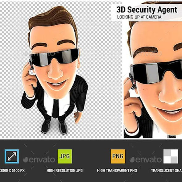 3D Security Agent Standing and Looking Up at Camera