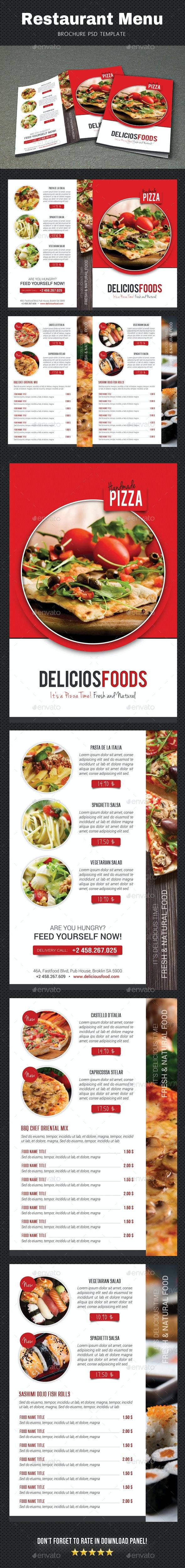 Restaurant Menu Brochure 2 - Food Menus Print Templates