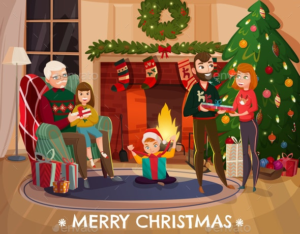 Family Christmas Congratulation Illustration - People Characters