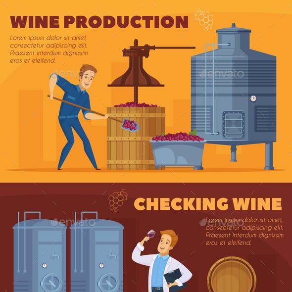 Wine Production Cartoon Horizontal Banners