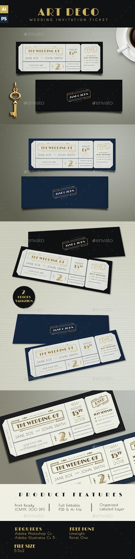 Art Deco Wedding Invitation Ticket - Wedding Greeting Cards