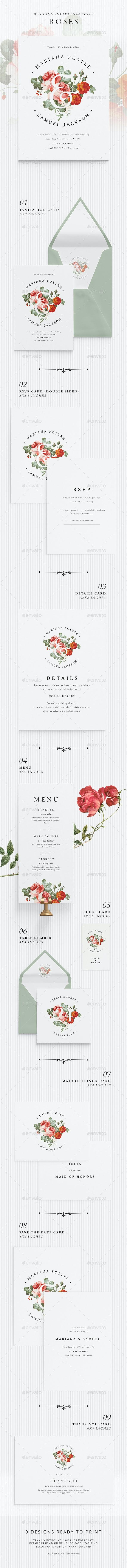 Wedding Invitation Suite - Roses - Weddings Cards & Invites