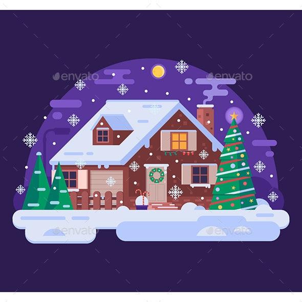 Snowy Christmas.Christmas House By Snowy Winter Night