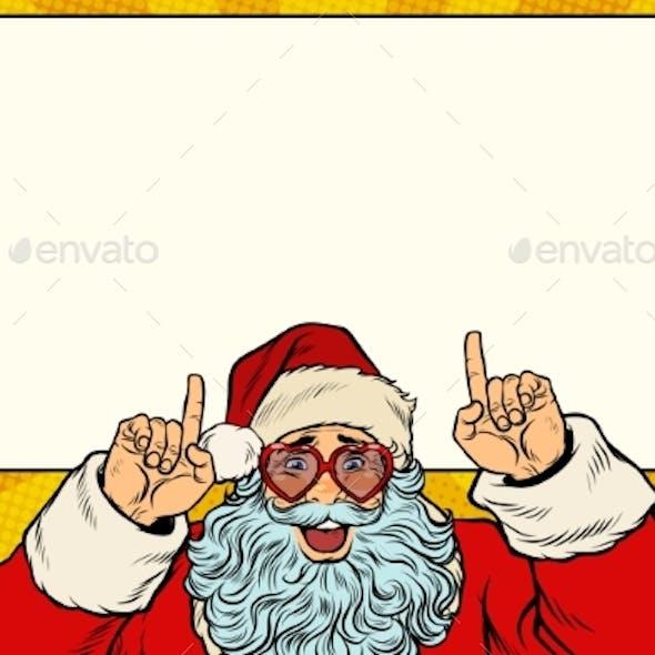 Santa Claus Points To the White Background