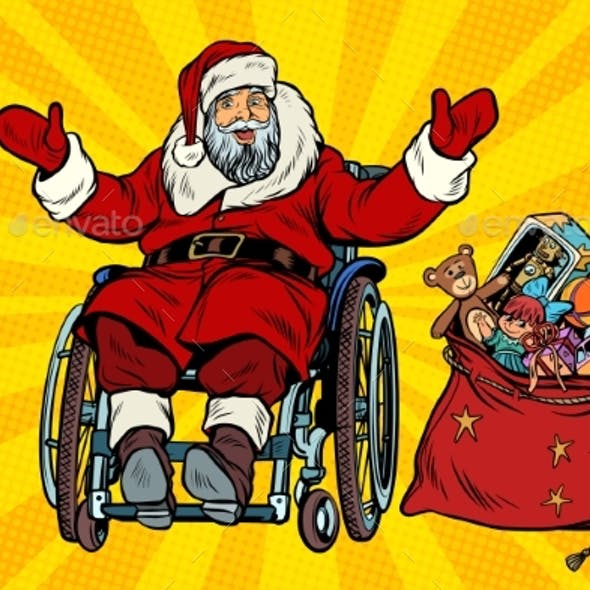 Disabled Santa Claus Is in a Wheelchair, Christmas