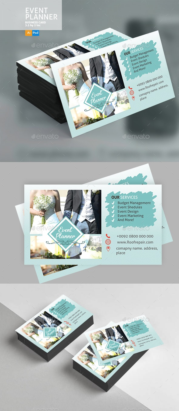 Wedding Event Business Card - Business Cards Print Templates