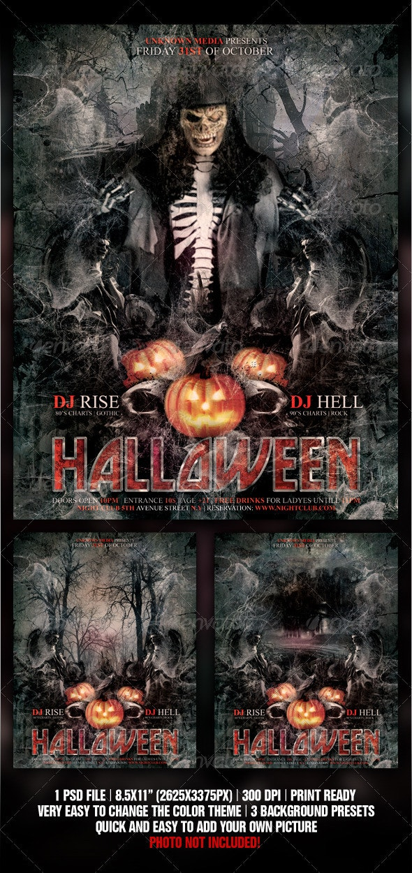 Halloween / Rock Night Club Party Flyer / Poster - Clubs & Parties Events